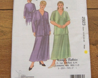 vintage 1990 kwik sew pattern 2923 misses skirt and tops plus sz 1X-4X  uncut