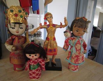 Oriental Asian Vintage Peg Dolls Assorted