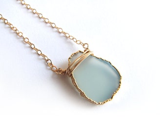 Aqua Gold Necklace, Aqua Necklace, Gold Layering Necklace, Gemstone Layering Necklace, Gold Dipped Aqua Chalcedony Slice