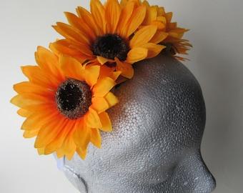 Sunflower tiara, white satin band, festival hair band, flower headpiece, flower girl hair
