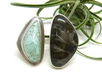 SPIRIT - Petoskey Stone & Variscite Silver Double Ring