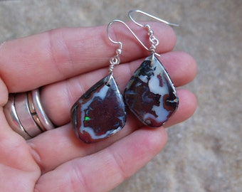Large Boulder Opal earrings - earthy & natural stone jewelry handmade in Australia - dark red jewellery