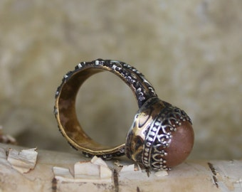 Sunstone Statement Ring with Rose Gold and Sterling Silver - Regents Collection