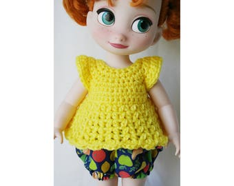 Disney Animator Outfit - 2 Pieces - Bell Sleeve Crochet Top and Balloon Shorts Bright Yellow with Fruity Pants
