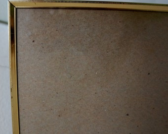 Vintage Metal Picture Frame Wedding Photo Frame Gold Tone Beaded Dot 8 x 10 Easel 1980s