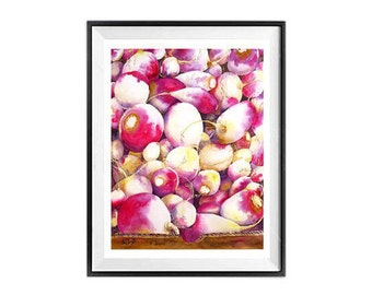 Original Kitchen Art,  Original kitchen wall art fruit watercolor still life vegetable watercolor still life Pink painting Kitchen art 10x13