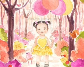 Child Portrait - Custom Family Portrait, Painting, Watercolor Illustration, Drawing, Art, Girl Boy, Forest Balloons by Reani on Etsy