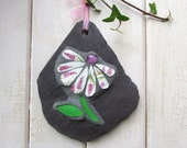 Mosaic Flower on Slate ~ Gift Idea ~ Small Garden Ornament ~  Handmade Art Plaque ~ Unique Gift for Gardener ~ Recycled China ~ Eco Friendly