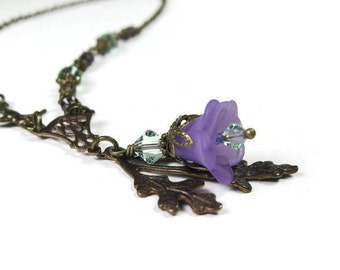 Vintage Style Pendant Necklace, Floral Jewelry, Flower Necklace, Vintaj Brass, Lilac and Green Swarovski Crystal, Gift Ideas for Gardeners