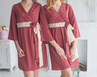 Marsala Rosette Robes for your bridesmaids in Premium Silk Chiffon