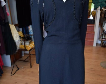 "1940's Black Crepe Dress With Jet Tassels 38"" bust 31"" waist"