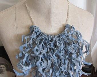 Necklace Beautiful Denim Curly Fringe Bib Necklace Choker (#20)