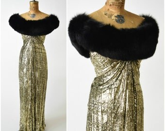 70s/80s Bob Mackie Gold Lame Draped Gown w Black Fur Collar // Pure Glamour, New Years Eve Showstopper Dress // Designer Vintage