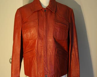 Genuine Leather Jacket: Brick Red 70s Coat Unisex  Cool Pockets