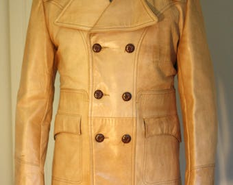 Genuine Leather Coat: Tan Double Breasted 70s Men's Jacket
