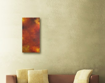 Abstract Painting - Abstract Painting Original - Modern Light - Luminous - Fire - Long painting Rectangular -Cave Dwelling v