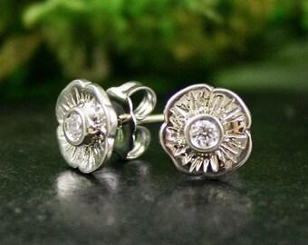 Diamond Flower Blossom Stud Earrings, 14k White Gold, Handmade, Solitaire Diamond Earrings, Garden Inspired