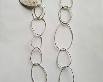 Handmade Sterling Silver Pear Drop Shaped Chain Necklace