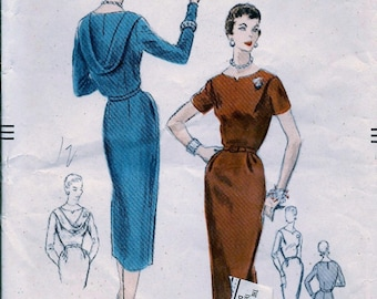 1950s  Vogue Pattern 8442   - ELEGANT Cocktail Party Dress w/Draped Loop Front or Back  //  Size 18, bust 34 * FACTORY FOLDED