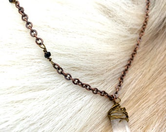 Enchantress . Crystal and Black Sapphire Pendent Necklace . 18 Inches . Bronze