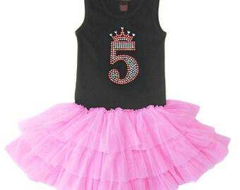 5th Birthday Girl, Fifth Birthday, Birthday Dress, Girls Tutu Dress, Birthday Princess, Birthday Number, Girls Party Dress