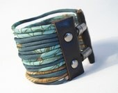 Fabric Cuff : Multi Strand Wide Vintage Scarf Bracelet Soft Muted Greens - size XS-S