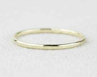Simple 14k Gold Hammered Wedding Band - Solid 14k White or Green or Yellow or Rose Gold - Tiny Delicate Halo - Dainty and Thin