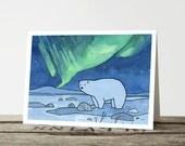 Polar Bear Northern Lights Christmas Card
