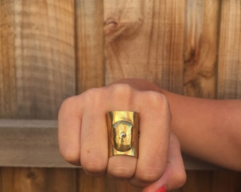 Brass Ring, Hand Forged Ring, Rustic Ring, Boho Fashion,