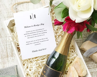 Wedding Welcome Note, Printable Wedding Welcome Bag Letter, Thank You, Modern, Itinerary, Agenda, Hotel Card - INSTANT DOWNLOAD