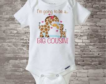 I'm Going to Be A Big Cousin Onesie or shirt, Personalized Big Cousin Shirt, Giraffe Shirt with Unknown gender Baby 04122012a1