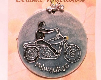 MOTORCYCLE MILWAUKEE handmade textured ceramic ornament with free gift wrap