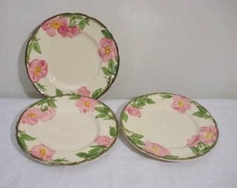 Vintage Franciscan Desert Rose Salad Plates -  Set of 3
