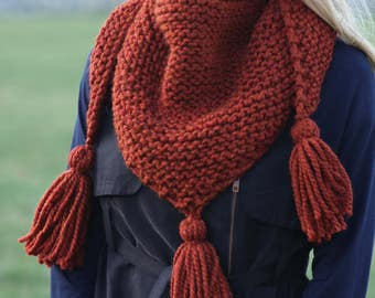 Knit Triangle Scarf- Chunky Knit Scarf- Tassel Scarf- Triangle Shawl- Tassel Wrap Scarf- Chunky Cowl- Hand Knit Scarves- Gift for Women