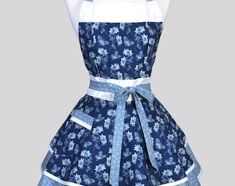 Ruffled Retro Pinup Apron , Butterflies and Daises in Denim French Blue Womans Cute Vintage Style Kitchen Apron to Personalize or Monogram