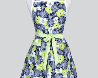 Retro Housewife Apron - Lime Green and Black Floral Womens Vintage Inspired Cute Housewife Kitchen Apron with Pocket