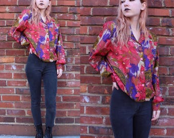 Vintage Abstract Floral Blouse with Gathered Waist