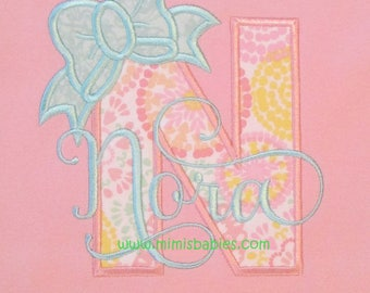 Monogrammed Bow Shirt  Girl Appliqued Initial with Bow Shirt  Girl Pink and Mint Initial