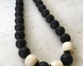 Lava Stone & Carved Bone Handmade Necklace - Natural Elements
