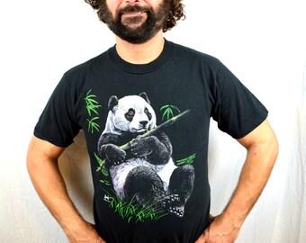 Vintage 80s 90s Cute Panda Black Tee Shirt Tshirt