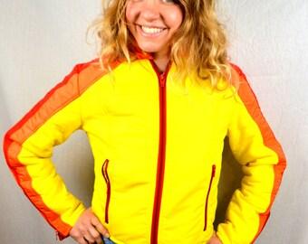 Vintage 70s Yellow Red Orange Skidom Striped Women's Ski Winter Slopes Snow Jacket Coat