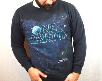 Vintage 1992 Heavenly Bodies One Earth Star Constellation Orca All Over Print 90s Sweatshirt