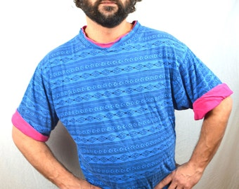 Vintage 80s 90s Geometric Surfer Neon Shirt - Rolled Sleeves