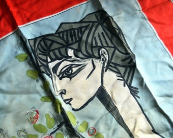 Vintage RARE 1940s Picasso Silk Scarf - Mme Z, SPADEM - Made in France