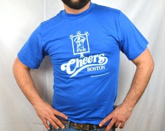 Vintage 1980s 80s Blue 1987 Cheers Boston Tshirt Tee Shirt - NWT Deadstock