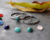 Silver Skinnies MADE TO ORDER Set of 3 thin stacking rings and 6mm stone of choice