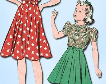 1930s Vintage Du Barry Sewing Pattern 2431 Little Girls WWII Dress Size 10 28 B