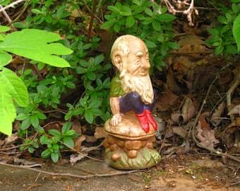 Rare Hatless Garden Gnome Figurine Sculpture - Ceramic Yard Art, Brownie, Male Gnome
