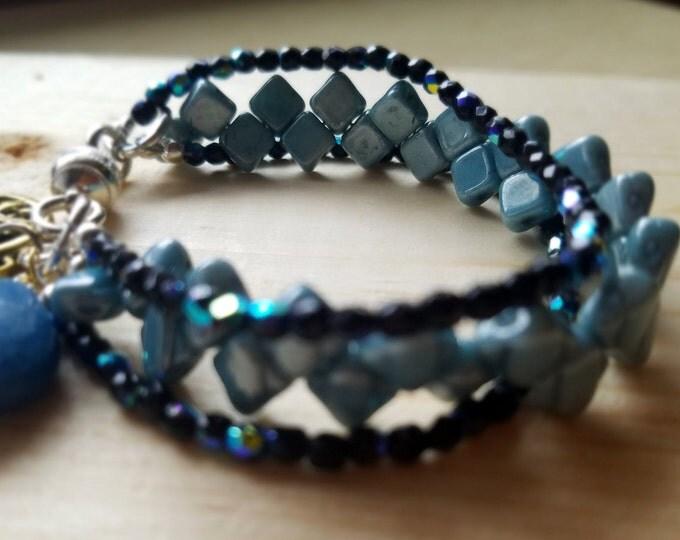 Beaded bracelet, beadwork bracelet, handwoven bracelet, czech bead bracelet, handmade bracelet, bead woven bracelet, gift for her, boho gift