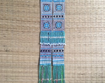 Vintage Hmong Embroidered Fabric, Ethnic Fabric, Hmong Tapestry, Tribal Wall Hanging, Asian Vintage Fabric, Tribal Textiles